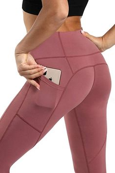 9ae2c85bcd Persit Women's Premium Yoga Pants with Side & Inner Pockets Non  See-Through Tummy