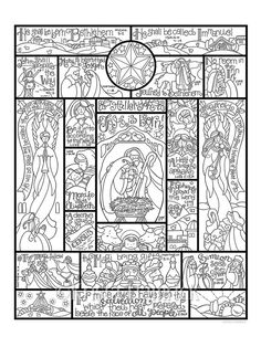 Story of the Nativity  coloring page in three sizes: 8.5X11,  8X10 suitable for framing, 6X8 for Bible journaling tip-in
