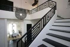 Wrought Iron Railings Designs Hungrylikekevin Com Creative Railing Design For Stairs - iron railing design for stairs Staircase Railing Design, Modern Stair Railing, Wrought Iron Stair Railing, Interior Railings, Balcony Railing Design, Iron Staircase, Modern Stairs, Interior Stairs, Railing Ideas
