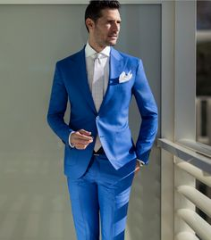Suit and tie fixation – Sartoria Rossi light blue suit - Men Navy Blue Suit Mens, Mens Light Blue Suit, Royal Blue Suit, Blue Suits, Blue Wedding Suit Groom, Wedding Tux, Light Blue Suit Wedding, Suit Combinations, Outfits Hombre