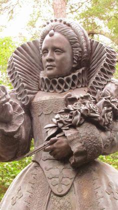 Sampler Girl blog: Statue of Elizabeth I at the Elizabethan Gardens in Outer Banks, NC.
