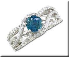14K White Gold Blue Zircon/Diamond Ring