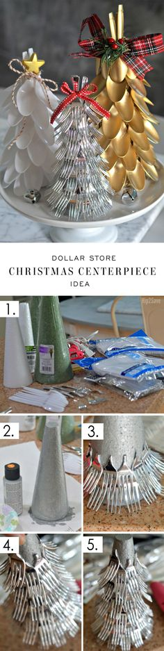 Clever Plastic Silverware Tree Centerpiece