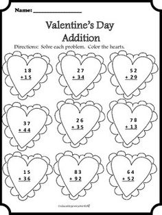 Valentine's Day: I Love Addition! (With and Without
