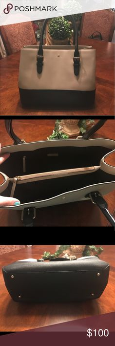 """♠️Kate Spade Cove Street Color Block Ariel Kate Spade Cove Street Color Block Ariel in Moose Frosting/Black.  Style #WKRU3421. Comes from smoke free home and was only carried once or twice. In excellent used condition.  Measures 15"""" w x 11"""" h x 6"""" deep kate spade Bags Totes"""