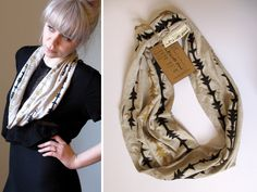 Soft Jersey Hand Printed Circular Scarf - Sand/Gold. £24.00, via Etsy.