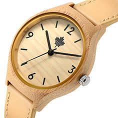 Tamlee Womens Bamboo Wood Quartz Soft Leather Strap Watch ** You can get additional details at the image link.