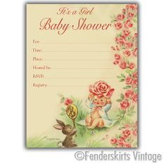 Vintage Retro 1950s Baby Girl Bunny Shower Invitations Customized Personalized
