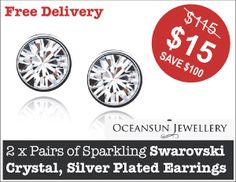 TWO Pairs of Sparkling Swarovski Crystal, Silver Plated Earrings for Just $15