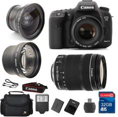 Canon 7D Mark II DSLR Camera + 18-135 IS STM Lens + Wide Angle Lens +Telephoto Lens + 32GB Memory + Flash - International Version. This Al's Variety Exclusive DSLR Bundle comes complete with manufacturer supplied accessories and a 1 Year Seller Supplied Warranty, and Includes:. Canon 7D Mark II SLR Camera - Full HD 1080p, 20.2MP AOS-C CMOS Sensor , Continuous shooting (Import Model). Canon 18-135mm f/3.5-5.6G IS STM (Silent Motor) marks a new standard for EF-S lenses. It features a…