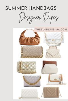 Summer Handbags - Designer Dupes - The Blondissima Summer Handbags, Cute Handbags, Best Handbags, Chanel Classic Flap, Affordable Jewelry, Big Fashion, Cheap Clothes, Dupes, Cozy House