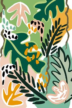 Pattern from 'Birds in the Jungle' collection by Dora, Szentmihalyi, design, contemporary, plant, jungle, tropical, print, pattern, colour