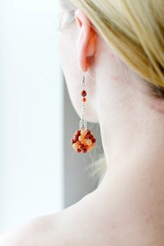 Carnelian coral long earrings for her by colorTIMEbyLAIRAM on Etsy, $36.00