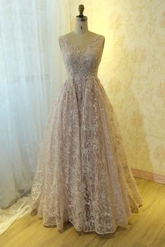 Chic Long Ball Gown Pink Lace Pearl Beaded Prom Quinceanera Dress V Neck Open Back Blush Pink Prom Dresses, Winter Prom Dresses, Formal Dresses, Orange Blush, Purple Grey, Prom Dresses Online, Quinceanera Dresses, Pink Lace, Ball Gowns