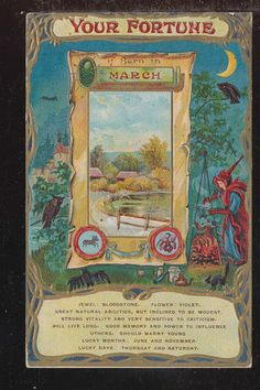 Your Fortune If Born in March Gypsy Camp Fire Bat Antique Postcard ZZ982 | eBay