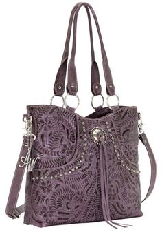 American West Forget Me Not Purple Tooled Leather Tote available at #Sheplers