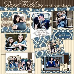 $10 pack - blue and white damask digital card templates. Use for: Wedding Invitations, Engagement and Save-the-Date announcements, Graduation, Senior, Baby, Newborn announcements, Birthday and Party Invitations, Holiday and Special Occasion Cards.