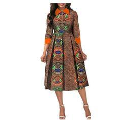 African Dresses for Women Dashiki Elegant Slim Africa Clothe, three quarter sleeve calf-length zipper A-line wax cotton dress for women Size XXS-6XL