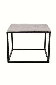 Sofabord med betonplade, kvadratisk, sort stel, stort fra House Doctor