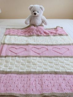 Homemade Crochet Heart Blanket Free Knitting Pattern - Lap Blanket, Teddy Bear