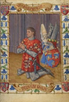 Simon de Varie kneeling in prayer - Book of Hours - Jean Fouquet French, Tours, 1455 Medieval Life, Medieval Art, Medieval Manuscript, Illuminated Manuscript, Jean Fouquet, Kneeling In Prayer, Renaissance Kunst, Saint Michael, Late Middle Ages