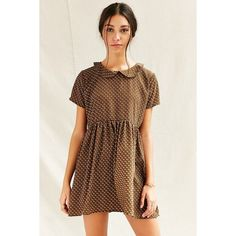 Urban Renewal Remade Peter Pan Babydoll Dress ($59) ❤ liked on Polyvore featuring dresses, brown, brown dress, ruched waist dress, doll dress, peter pan dress and urban renewal dress