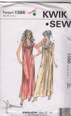 Kwik Sew 1386 1980s Misses  V Neck Nightgown Negligee womens vintage sewing Pattern by mbchills