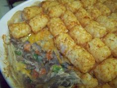 Tater tot casserole.  A great casserole that can be adapted to any veggies you like! Super easy and delicious.