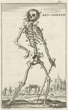 Geraamte van een mens, Jan Luyken, Jan Claesz ten Hoorn, 1680
