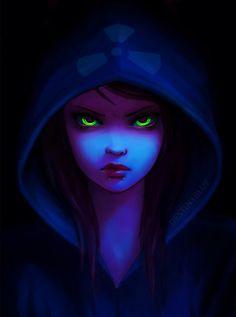 Anime - Destinyblue @ deviantart green eyes blue hood toxic