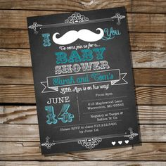 Mustache Baby Shower Invitation for a Boy by SunshineParties