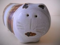 Vintage Stoneware Ceramic Cat Bank Brown and White Stripes Stafford Japan by Modernaire on Etsy