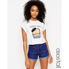 ASOS Cropped T-Shirt with French Toast Print ($12) ❤ liked on Polyvore featuring tops, t-shirts, white, white cotton t shirts, white crop tee, crew neck t shirt, white crop top and white crew neck t shirt
