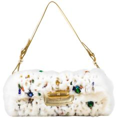 "Jimmy Choo White Rabbit Fur Multicolor Beaded Gold Tone Handle ""Tulita"" Bag 