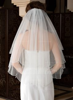 Wedding Veils - $16.99 - Two-tier Elbow Bridal Veils With Finished Edge/Beaded Edge (006036615) http://jjshouse.com/Two-Tier-Elbow-Bridal-Veils-With-Finished-Edge-Beaded-Edge-006036615-g36615