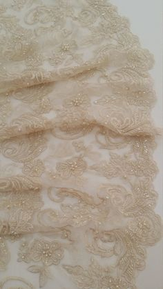 Beige lace fabric by the yard, French Lace, Alencon Lace, Bridal lace, Wedding Lace, Garter lace, Pearl lace, Sequin Lace, Beaded lace
