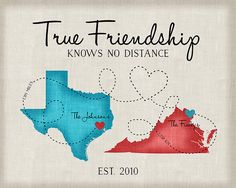 Going Away Gifts, Moving Gift for Friends, Long Distance Friend Quote, Map, Moving Out of State, Another Country, Texas, Virginia