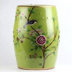 Bird Floral Pattern New Arrival Ceramic Patio Stool Of Ceramicstool.com