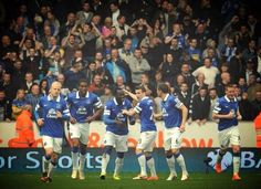 Hull 0 v 2 Everton: Players and fans celebrate Everton's second goal