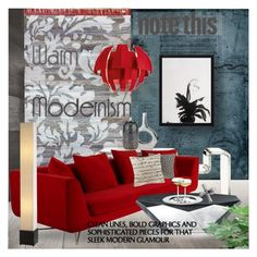 """""""Warm Modernism"""" by idetached ❤ liked on Polyvore featuring interior, interiors, interior design, home, home decor, interior decorating, nuLOOM, Axo Light, Modern Day Accents and Kelly Wearstler"""