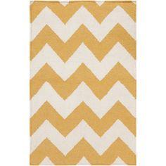 Handwoven SandyChevron Golden Yellow Wool Rug (8' x 11')... loving these yellow chevron options :)