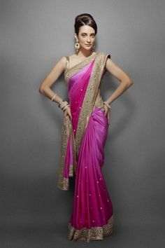 Pink shaded sari with ethnic gold border