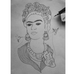 "Empezando el proyecto final del curso ""Mujeres en la historia del arte"" con Frida Kahlo #illustration #art #portrait #drawing #fridakahlo #feminism #tattoo #tattoodesign #tattooflash #sketch #sketchbook by cuantoruido"
