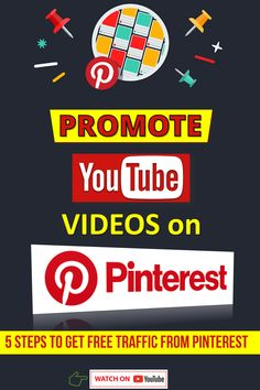 Learn how to use #Pinterest to get free traffic to your videos. Follow these 5 steps to get views for #YouTubeVideos with Pinterest. #PinterestTraffic Youtube Secrets, Youtube Hacks, You Youtube, Get Youtube Views, 7 Rules Of Life, Pinterest Tutorial, Making Money On Youtube, Youtube Subscribers, Seo Tools