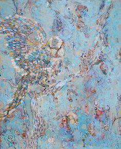 Original painting: patterned parrot on a tree by mateasinkovec