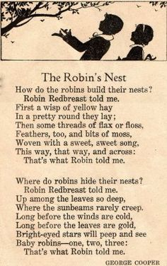A Vintage Cottage Home: The Return of the Robins! Nursery Rhymes Poems, Rhymes Songs, Red Robin, Bird Quotes, Nature Quotes, Robin Redbreast, Pomes, Kids Poems, Children's Literature