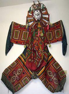 Africa | Complete Ibo costume, Nigeria | Wood, textiles, twine | ca. Mid-1900s