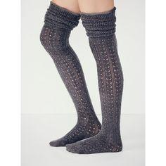 Free People Blanket Pointelle Sock ($24) ❤ liked on Polyvore featuring intimates, hosiery, socks, accessories, tall socks, frilly socks, free people socks and ruffle socks