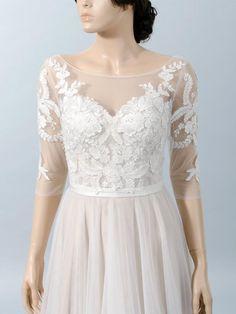 Boat neck lace bolero with V back 3/4 length sleeves bridal | Etsy