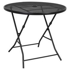 """This Threshold 32"""" Metal Mesh Folding Table is the perfect choice for your deck to enjoy breakfast, lunch and dinner outdoors. With a hole for an umbrella, you can also use it as a shady spot to enjoy an ice-cold lemonade while reading a paperback. The folding table is made of powder-coated steel, excellent for holding up against the weather.  And when the weather takes a turn for the worse, the portable table can be easily folded for storage or moved to a different spot on the lawn. 27...."""